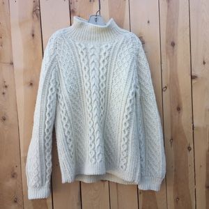 Sweaters - White Chunky Cable Knit Sweater with turtleneck
